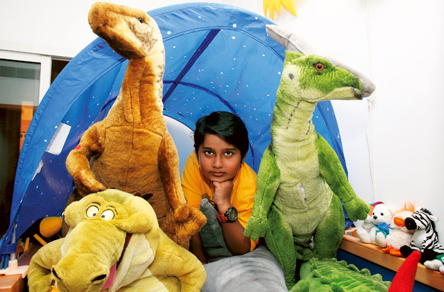 pritvik with stuffed dinos